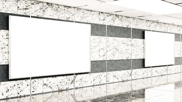 지하철에서 대리석 벽에 3d 렌더링 빈 빌보드