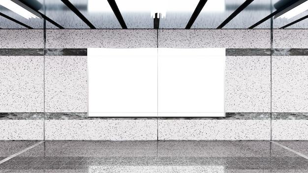 3d визуализация. пустой рекламный щит в метро. полезно для вашей рекламы.