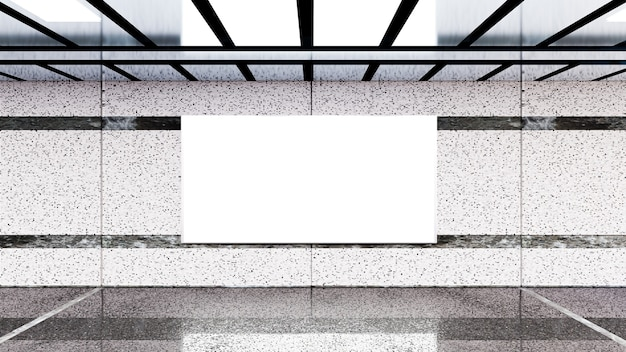 3d 렌더. 지하철의 빈 광고판. 귀하의 광고에 유용합니다.