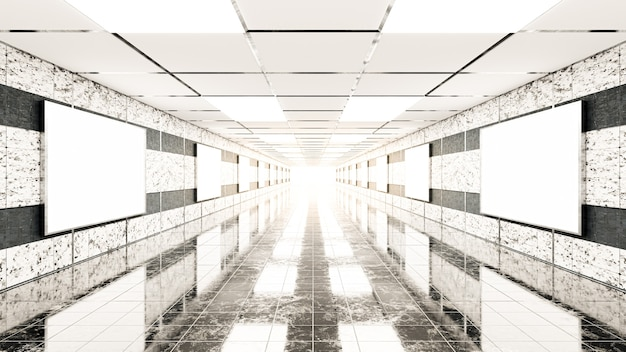 3d render blank billboard in marble walls in the subway