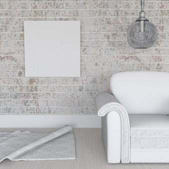 3d rendering di una tela vuota sul muro di mattoni grunge in interni della stanza