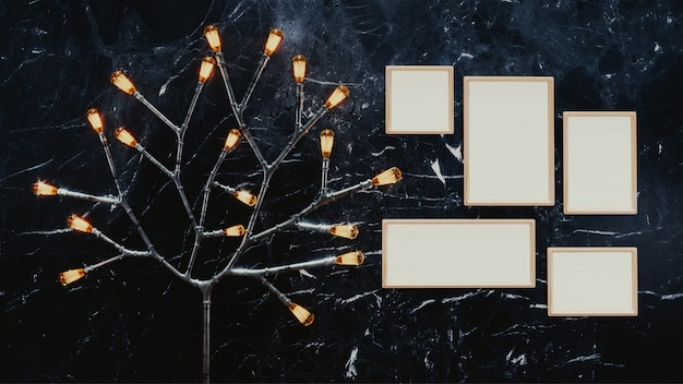 3d render of blank photo frames with illuminated branch firefly