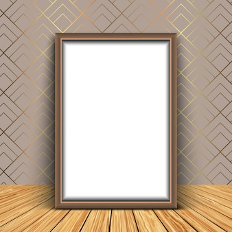 3d render of a blank picture frame against an elegant wallpaper