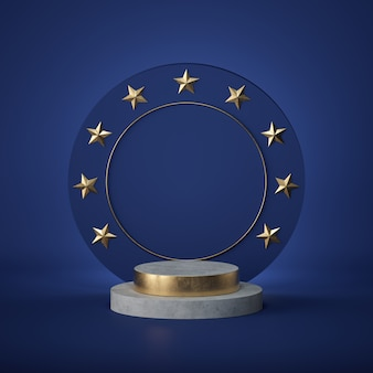 3d render. blank round board, copy space, concrete cylinder steps, empty podium, vacant pedestal. european award emblem. golden stars.