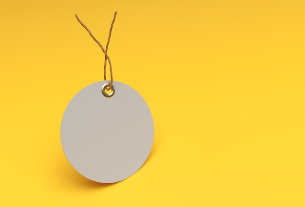 3d render blank tag tied with string price tag, gift tag, sale tag.