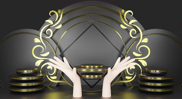 白い手空白のテンプレート背景を持つ3 dレンダリングブラスクシリンダー表彰台。ブラックスクエアとサークルゴールドプレミアム