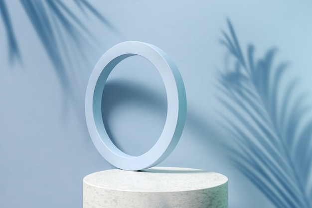 3d render blue abstract geometric shape and marble podium with palm tree leaves on the background