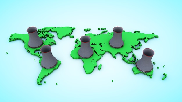 3d визуализация карта мира синий и зеленый