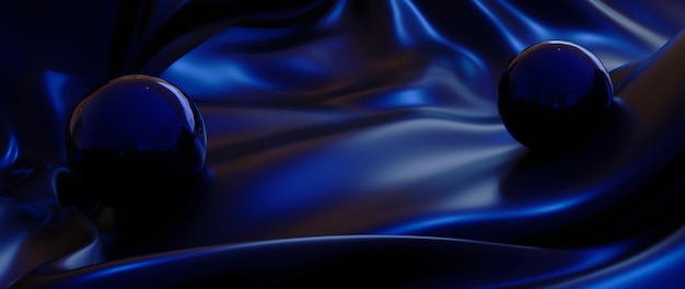 3d render of blue balls and silk abstract art fashion background.