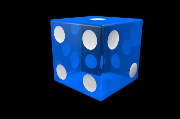 3dレンダリングブルーカジノダイス。黒の背景に分離されたポーカーキューブ。