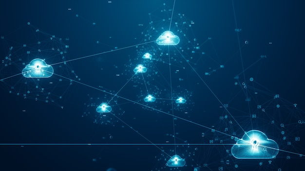 3d визуализация синих облаков и концепции больших данных.