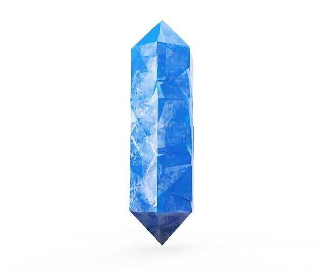 3dレンダリング、白い背景に分離された青い結晶、宝石、天然ナゲット、難解なアクセサリー