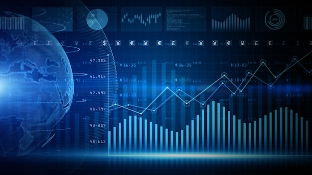 3d render blue digital data financial investment diagram background