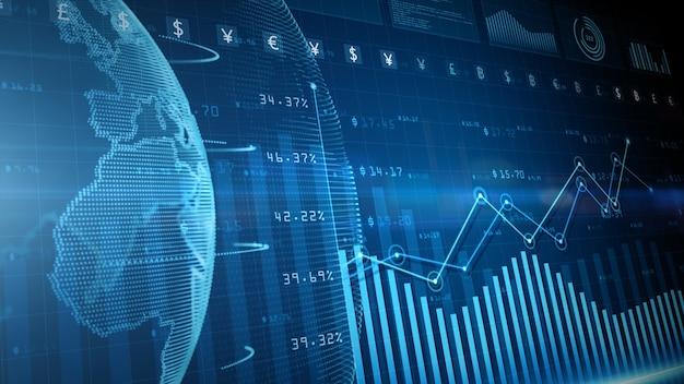 3d 렌더링 블루 디지털 데이터 금융 투자 다이어그램 배경