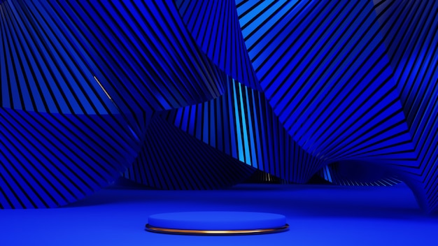 3d render of blue and gold podium. background with geometric composition, semicircular stand. modern design.