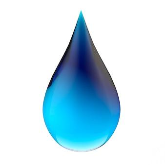 3dレンダリング青いグラデーションの液滴は白い背景で隔離