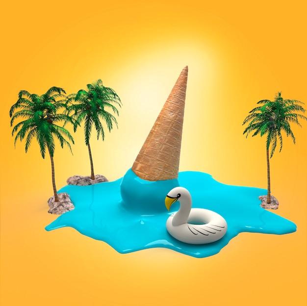 3d 렌더링 파란색 아이스크림 콘 야자수와 노란색 배경에 풍선 백조 녹는