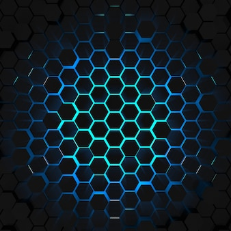 3d render blue light hexagon background top view
