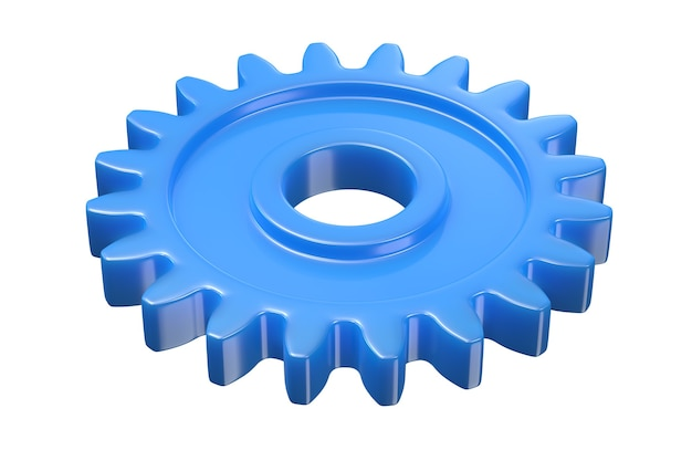 3d render of blue plastic gear isolated