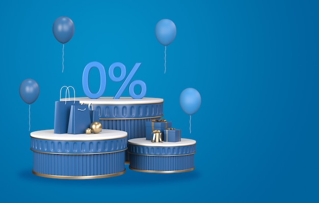 3d render of blue podium discount pay installment with credit card.