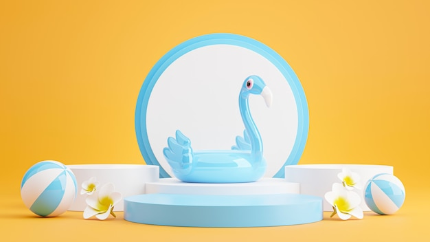 3d render of blue podium with summer beach,beach ball,plumeria,inflatable blue flamingo concept for product display