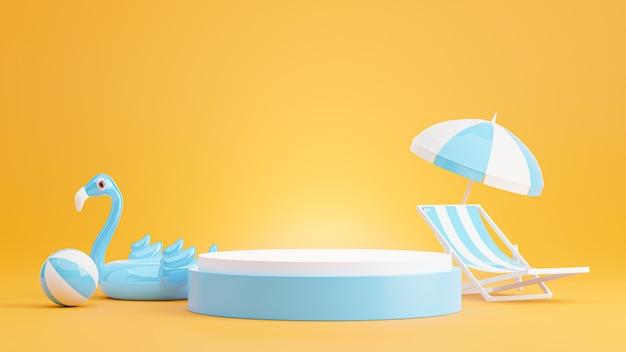 3d render of blue podium with summer beach,umbrella beach,chair beach,beach ball concept for product display