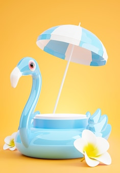 3d render of blue podium with summer beach,umbrella beach,plumeria,inflatable blue flamingo concept for product display