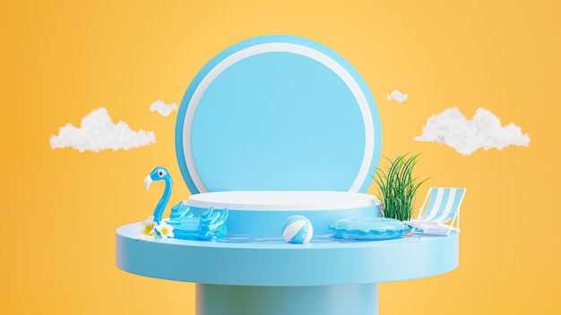 3d render of blue podium with summer ,chair beach,umbrella beach,plumeria,inflatable blue flamingo,swimming pool concept for product display