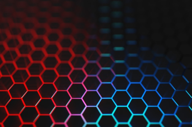 3d render blue and red light hexagon background
