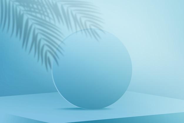 水色の背景にヤシの木の葉の影と青い丸い表彰台をレンダリング