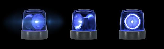 검정색 배경에 플레어가 있는 3d 렌더링 파란색 경고등
