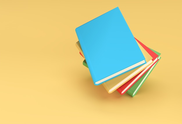 3d render books stack of book covers colorful textbook bookmark design.
