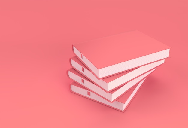 3d render books stack of book covers textbook bookmark mockup style design.