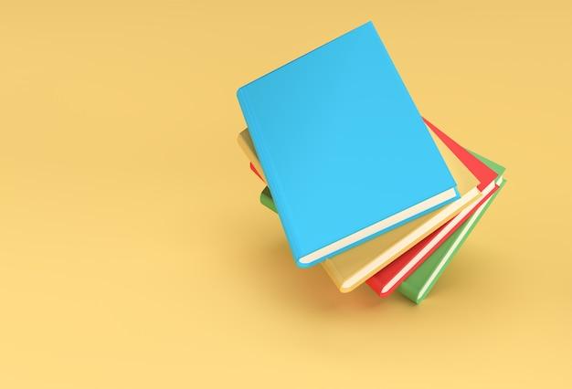 3d 렌더링 책 책의 스택은 다채로운 교과서 책갈피 디자인을 다루고 있습니다.