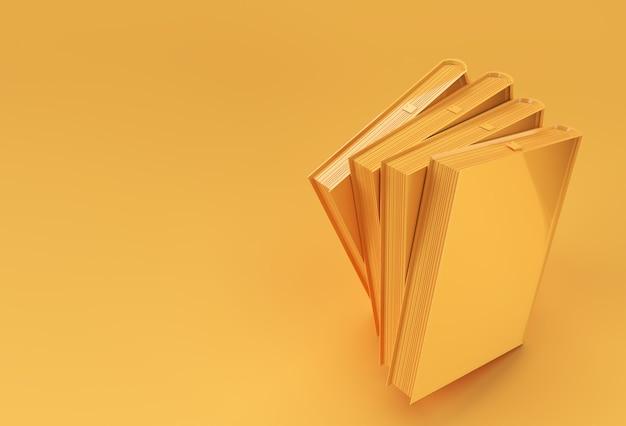 本の3dレンダリングブックスタックは、カラフルな教科書ブックマークデザインをカバーしています。