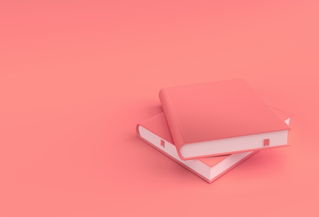 本の3dレンダリングブックスタックは、教科書ブックマークモックアップスタイルのデザインをカバーしています。