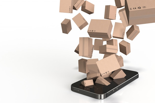 3d render box out of smartphone, shopping online.