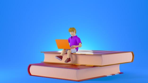 青い背景で隔離の本の山の上に座っている彼のコンピューターと3dレンダリングの少年