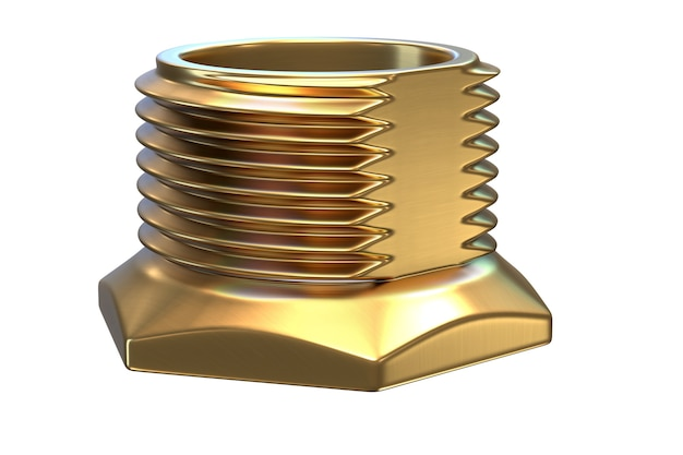 3d render of brass threaded fitting isolated wall.