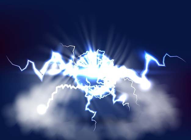 3d render bright blue electric lightning flash on dark sky background