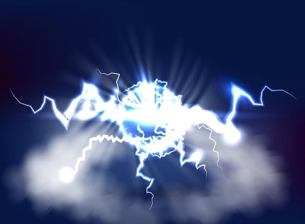 어두운 하늘 배경에 3d 렌더링 밝은 파란색 전기 번개 플래시