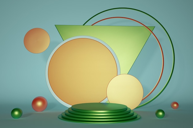 3d render bright green orange podium with round frame geometric shapes composition