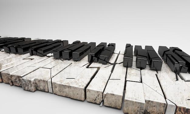3d 렌더링. 부서지고 오래된 피아노