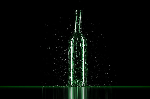 3d визуализация битого стекла реалистичная зеленая пивная бутылка макет, 3d иллюстрации графический дизайн.