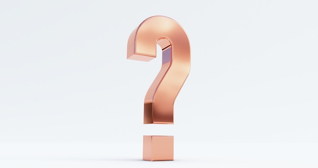3d render of bronze question mark isolated on white.