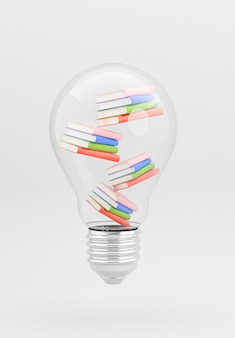 3d render of bulb with book stacking for education concept