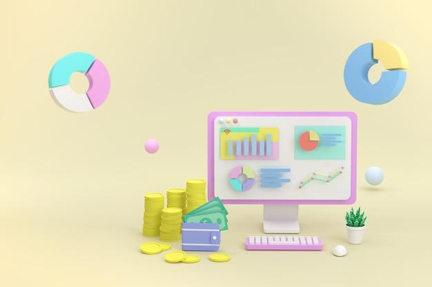 3d 렌더링 비즈니스 개념입니다. 컴퓨터 및 그래픽 오순절 동전과 지폐