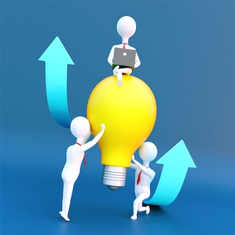 3d render of business people holding light bulb with sitting leader for successful teamwork.