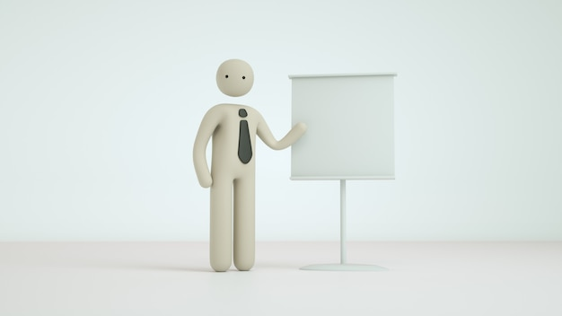 3d render business pictogram character pose