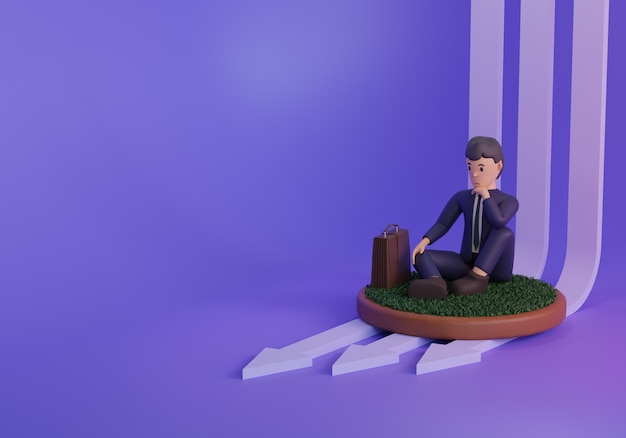 3d render businessman ilustration sitting down on purple background with arrows
